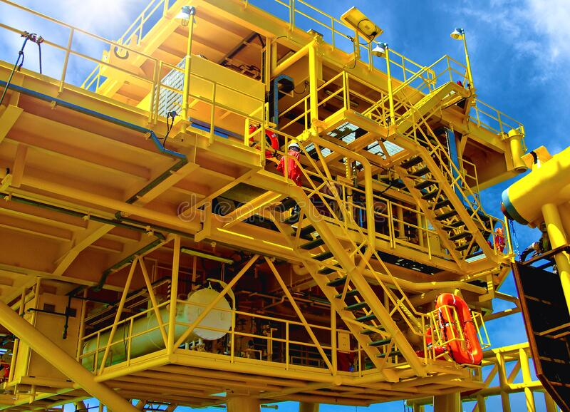 Rig platform during construction royalty free stock photo