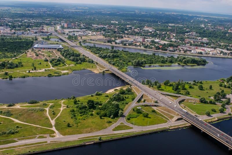 Riga from above. Aerial view of Riga city- capital of Latvia royalty free stock photography