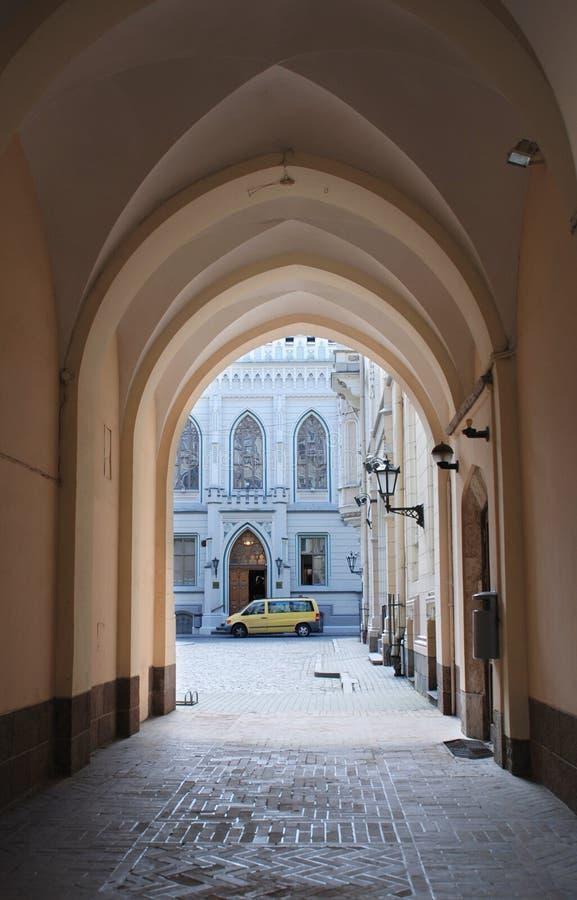 Riga, arco del gremio grande fotografía de archivo
