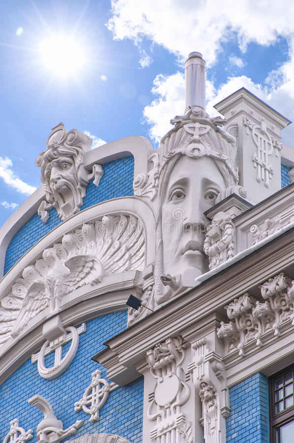 Riga Art Nouveau District 01. One of the many ornate buildings in the art nouveau district of the latvian capital Riga stock photos