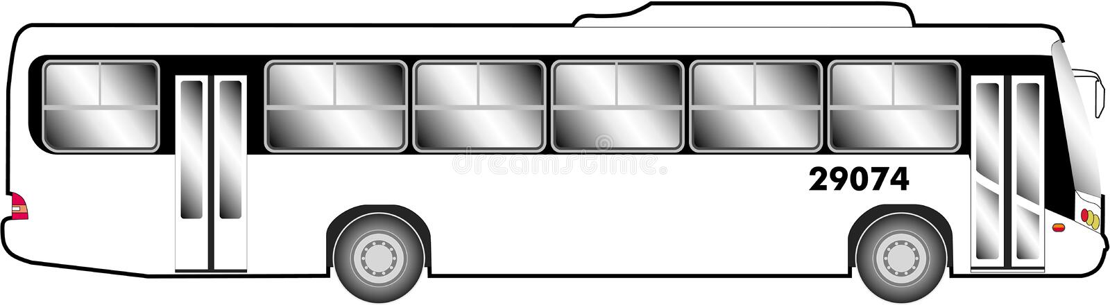 Linea arte 03 del bus illustrazione di stock