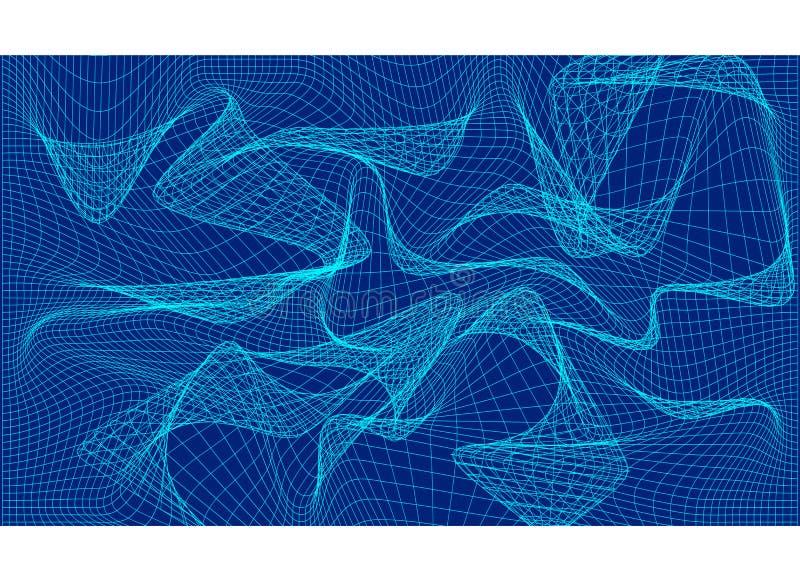 Riga astratta dell'onda Modello della linea blu illustrazione di stock
