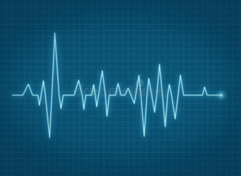 Riga blu di battito cardiaco di impulso di ECG royalty illustrazione gratis