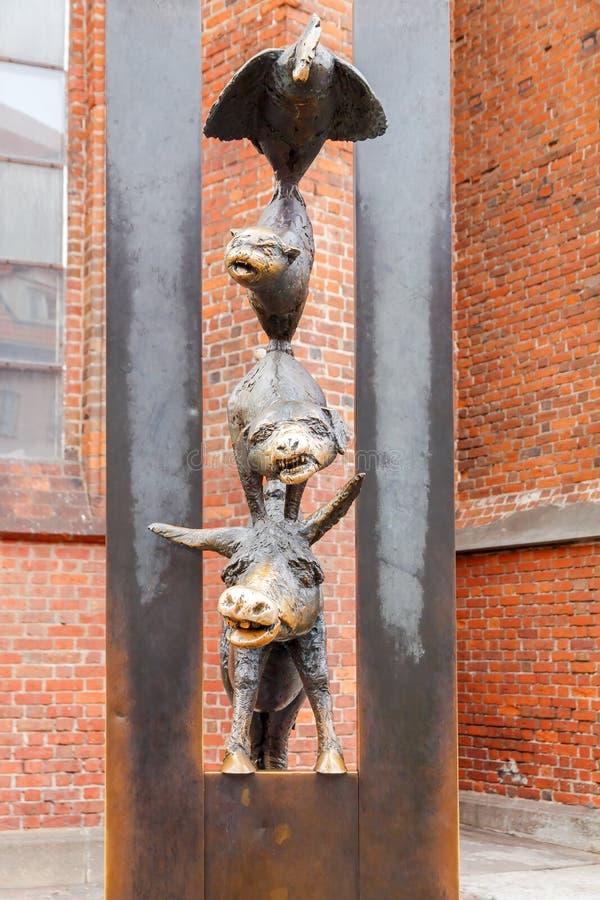 Riga. The Bremen Town Musicians. Sculpture characters from a fairy tale The Bremen Town Musicians. Riga royalty free stock photography
