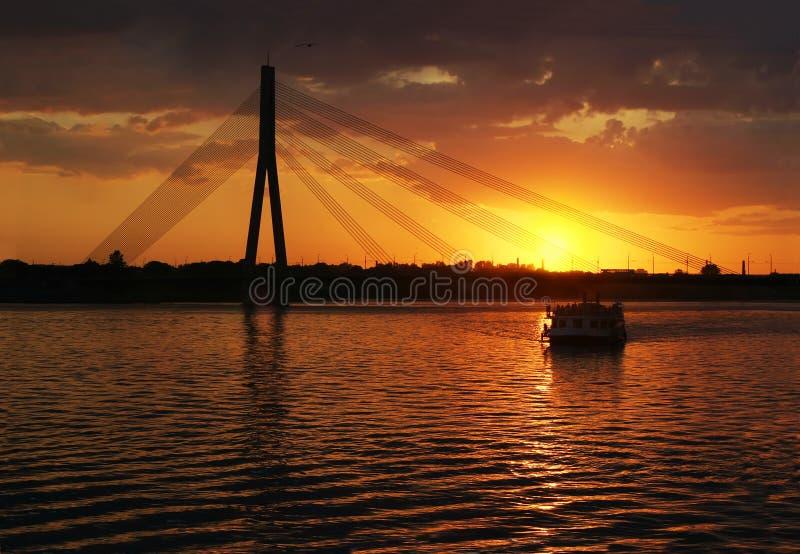 Download Riga Cable bridge stock photo. Image of lights, evening - 1339064