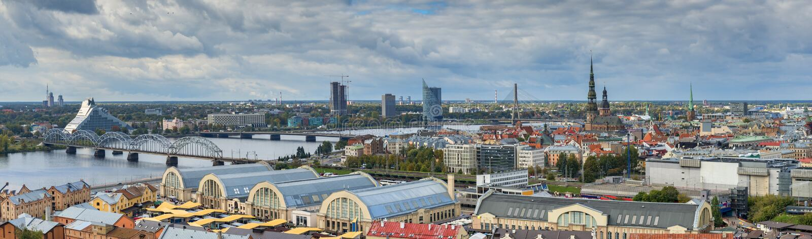 Aerial panoramic view on the center of Riga royalty free stock photo