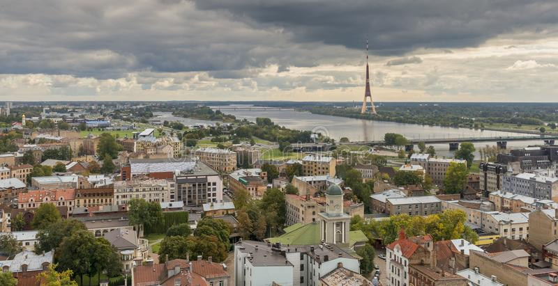 Aerial view on the center of Riga and TV tower royalty free stock photos