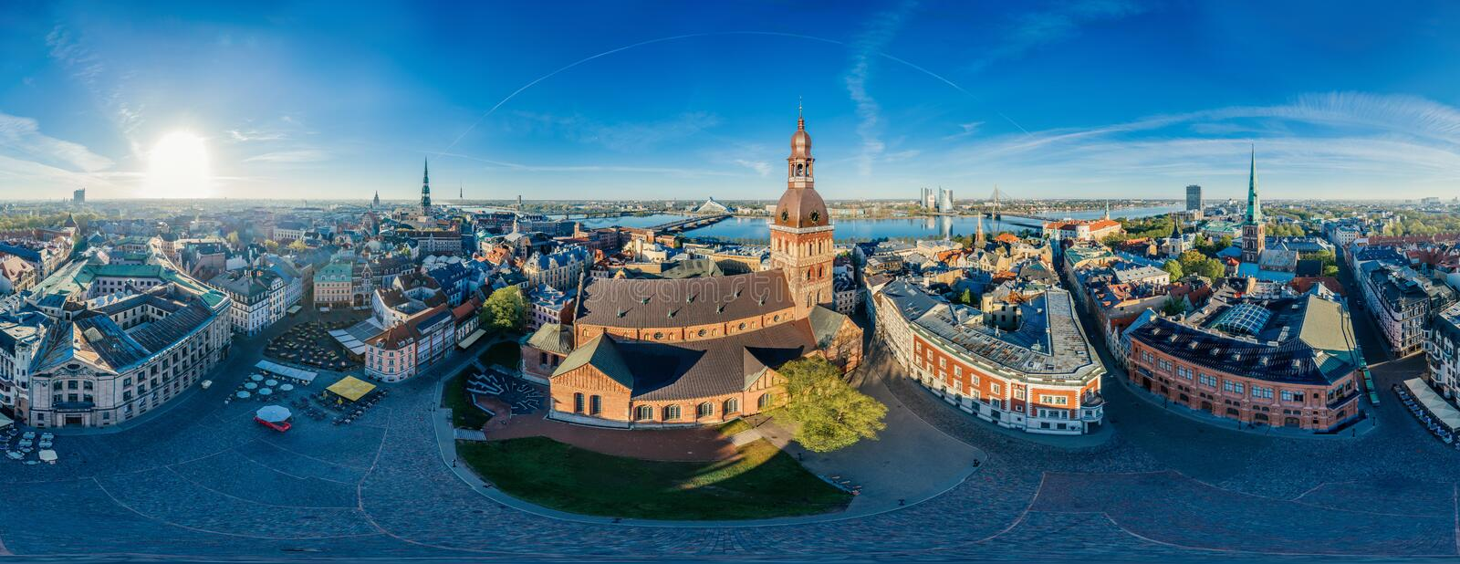 Riga City Dome church Old Town Monument drone 360 vr view. Riga city Drone photo from above Old Town Dome church, VR camera Sphere planet, virtual reality stock photos