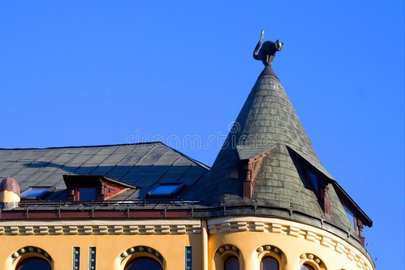 Riga. Ciudad vieja. Gato, casa de s. fotografía de archivo libre de regalías