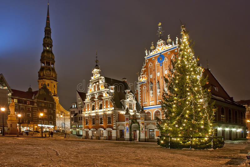 Riga in de tijd van Kerstmis stock foto