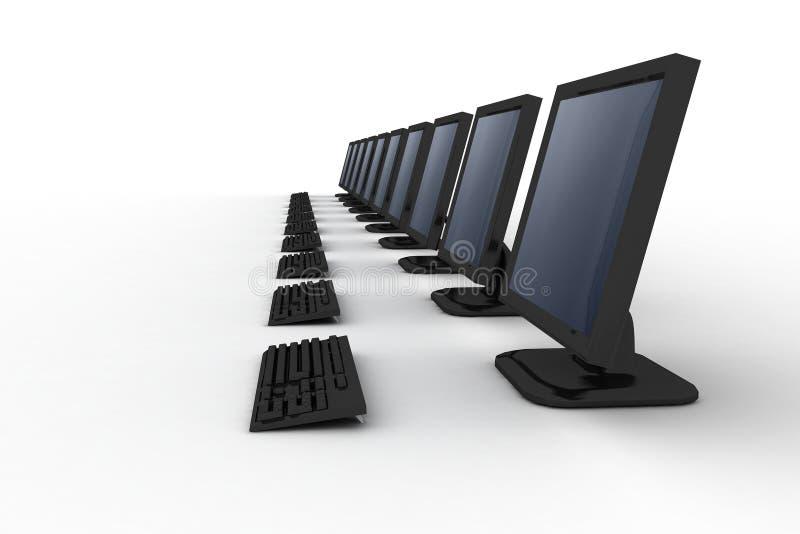 Riga dei calcolatori neri con il gr illustrazione di stock