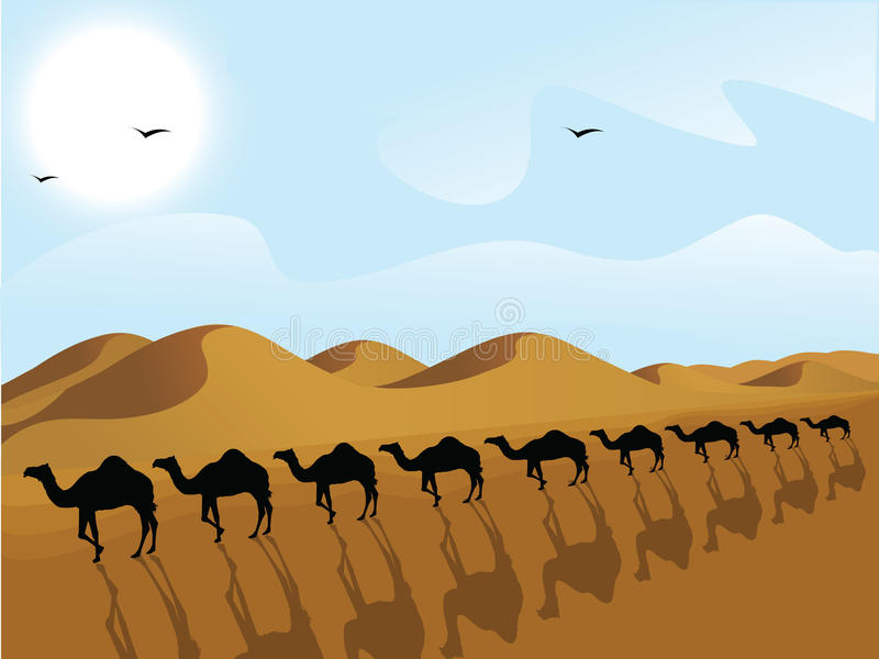 Riga dei cammelli in un deserto royalty illustrazione gratis