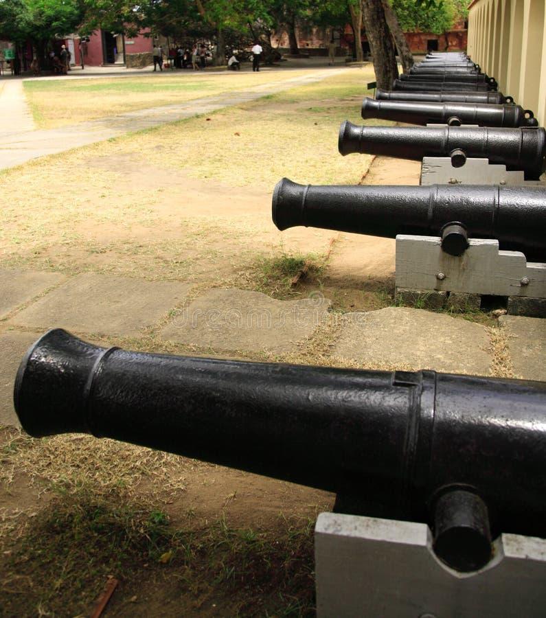 Riga dei cannoni fotografia stock libera da diritti