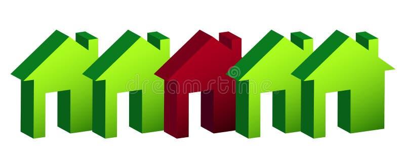 Riga del disegno dell'illustrazione delle case sopra illustrazione di stock