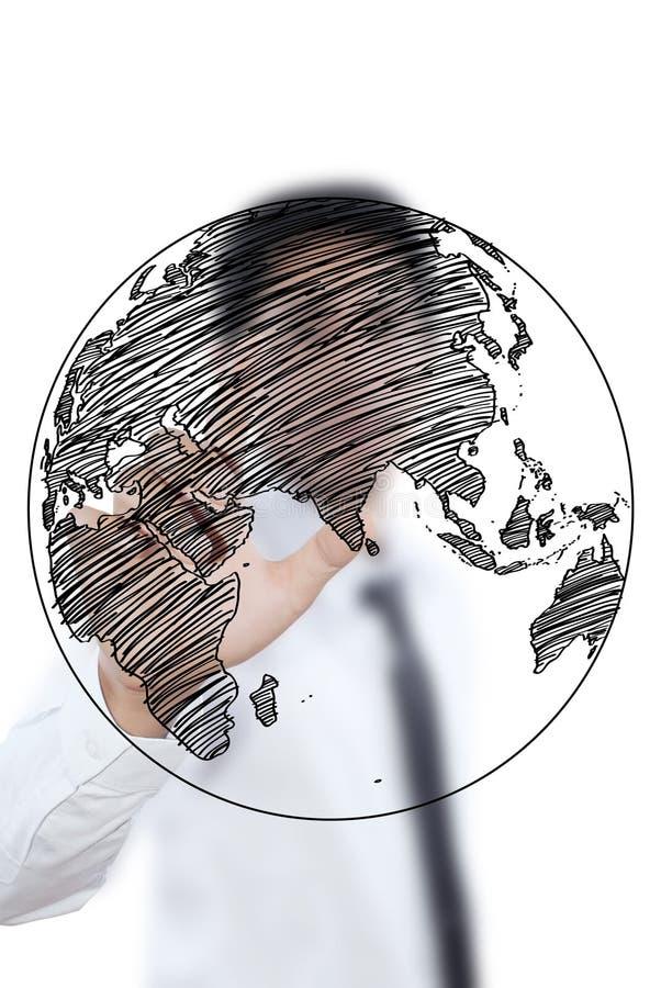 Riga del globo del programma di mondo dell'illustrazione dell'uomo d'affari immagine stock