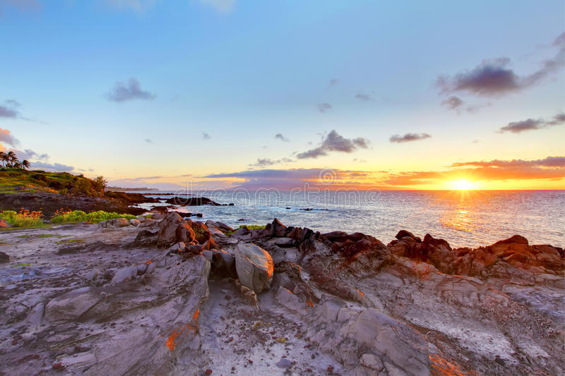 Riga del litorale della scogliera del Maui dell'isola con l'oceano. L'Hawai. fotografia stock libera da diritti
