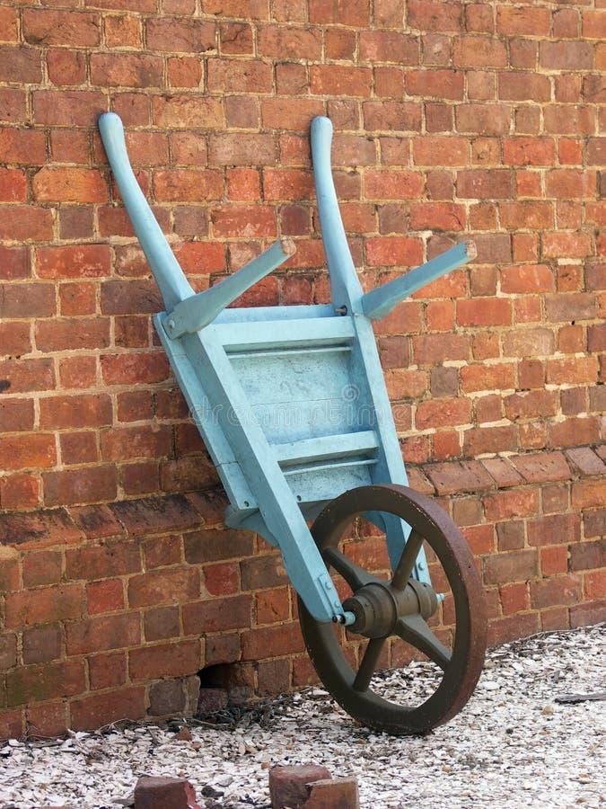 Riga della barra di rotella antica contro il mattone immagini stock
