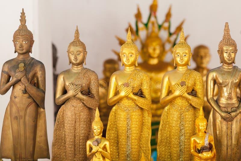 Riga della statua dorata del Buddha fotografie stock libere da diritti