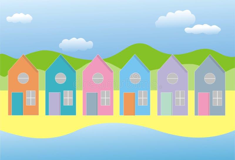 Riga delle case illustrazione di stock