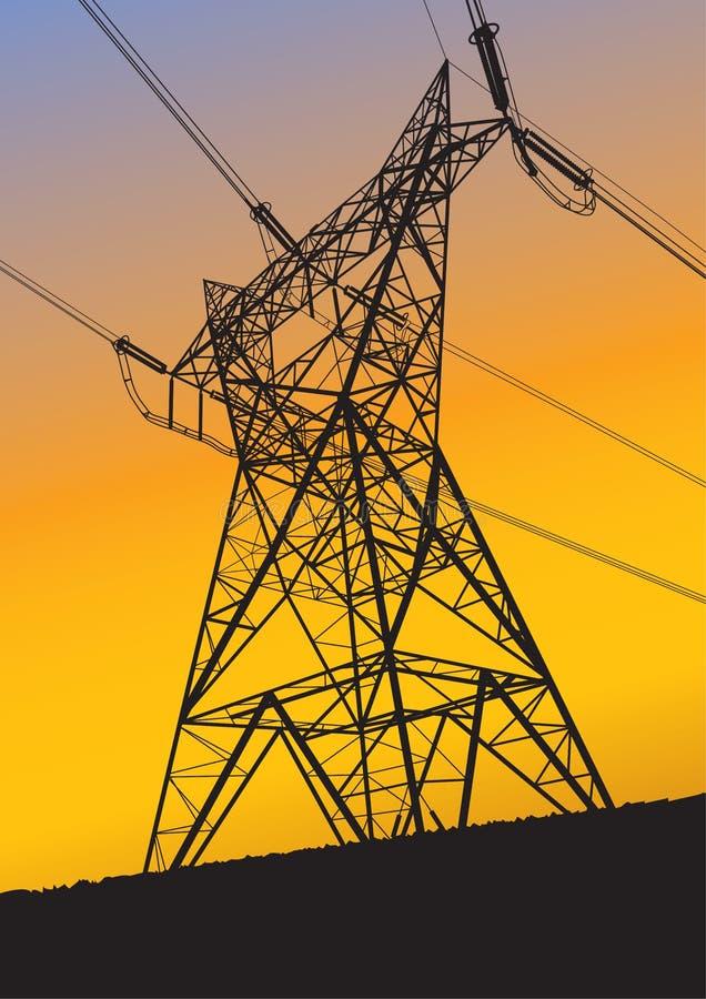 Riga di trasmissione siluetta al tramonto illustrazione di stock