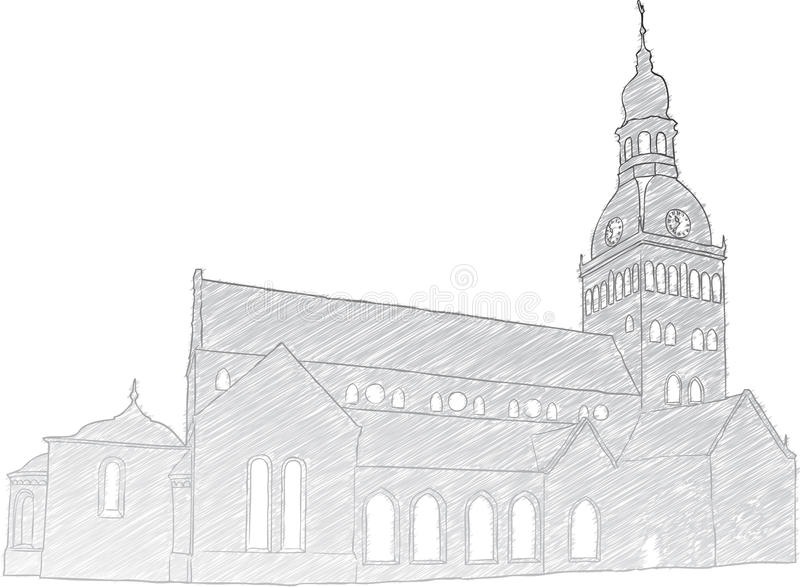 Riga Dome Church vector illustration