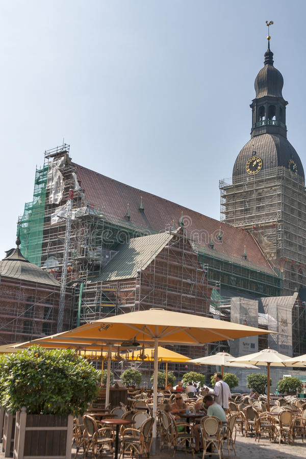 Riga Dome Square stock photo