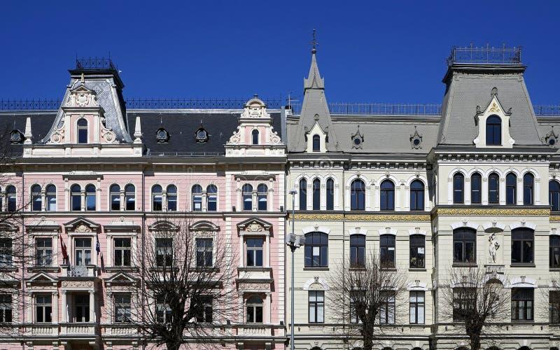 Riga, Elizabetes 15-17, costruzioni storiche, elementi decorativi fotografie stock