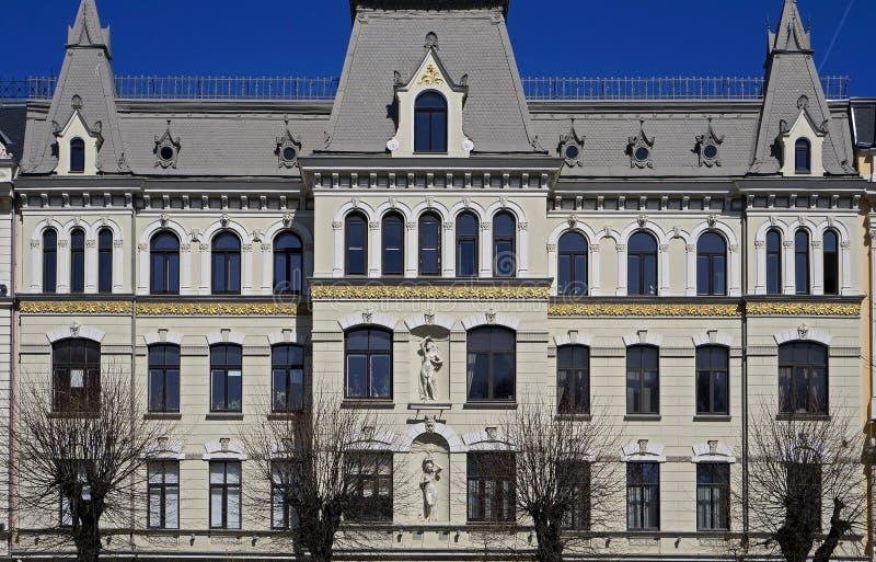 Riga, Elizabetes 17, una costruzione storica con gli elementi di Art Nouveau e eclettismo immagini stock libere da diritti
