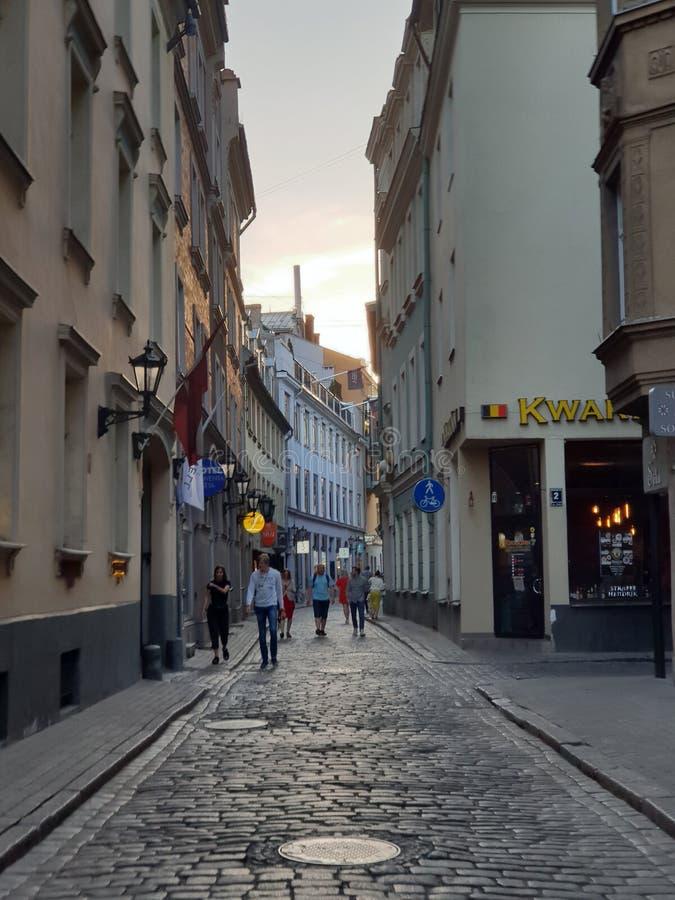 Riga gatasikt, Lettland arkivbilder