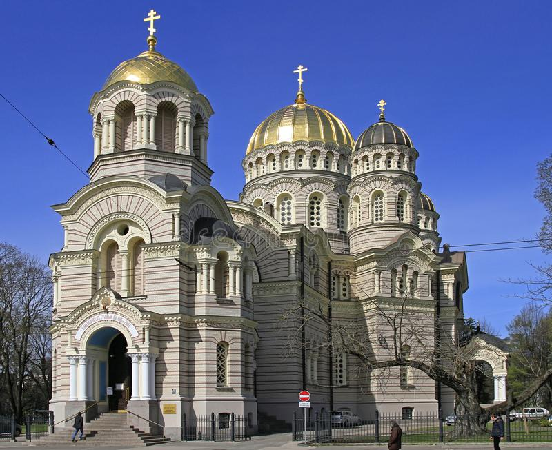 Riga-Geburt Christi orthodoxer Kathedrale Christus lizenzfreies stockbild