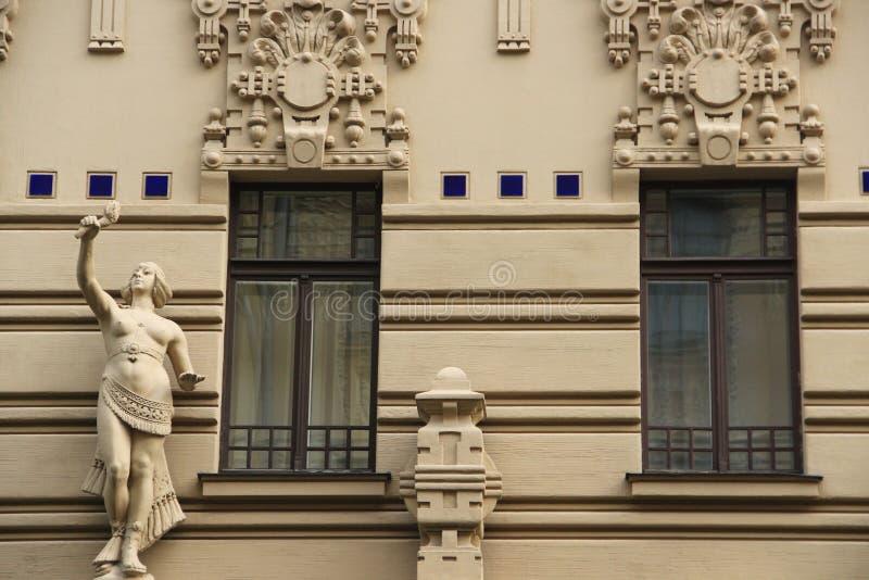 Riga, Jugendstildistrict stock afbeeldingen
