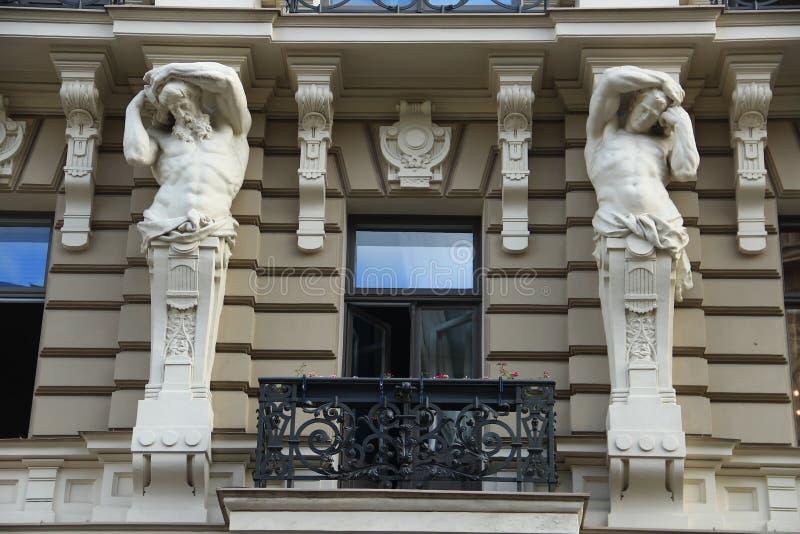 Riga, Jugendstildistrict stock foto's