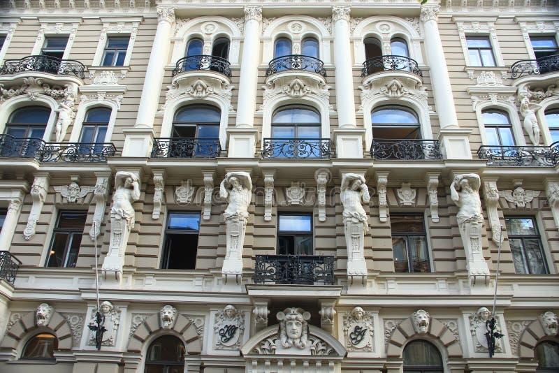 Riga, Jugendstildistrict royalty-vrije stock foto's