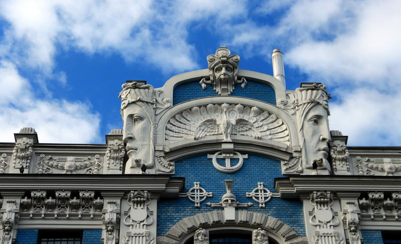 Riga, Jugendstildistrict stock afbeelding