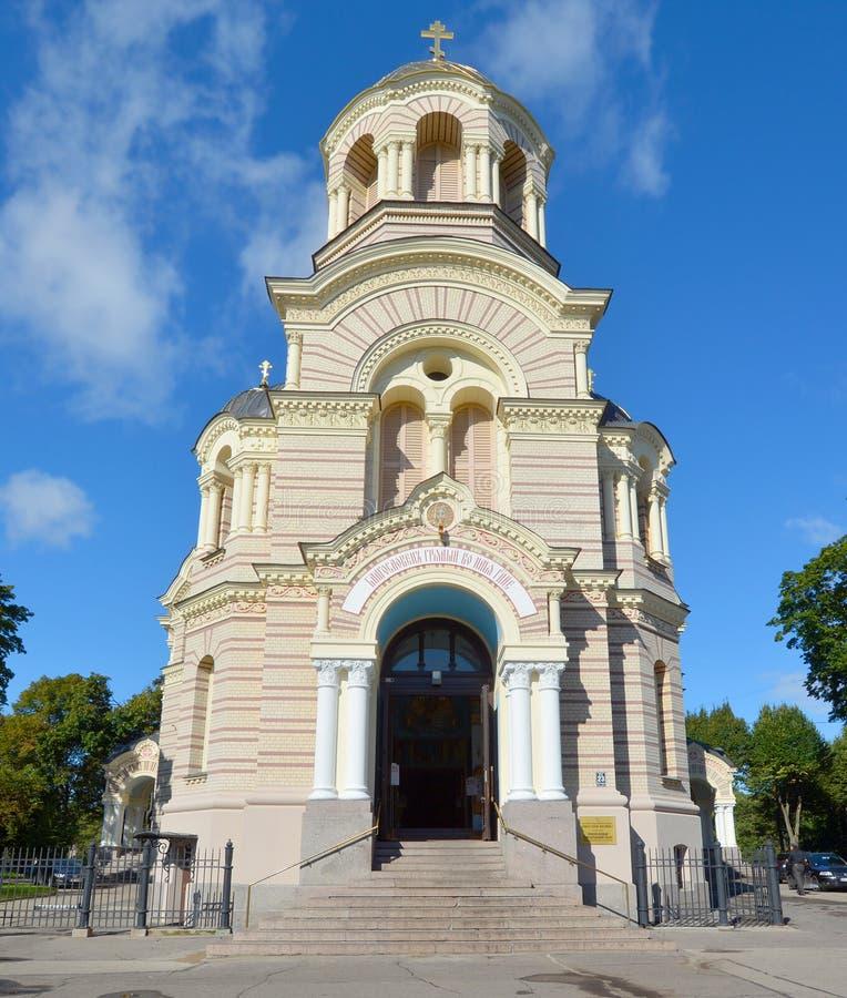 Riga Kristi födelse av Kristusortodoxdomkyrkan arkivbild
