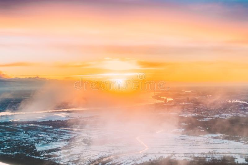 Riga, Latvia. Aerial View Of Sunrise Above City. View From High stock photos