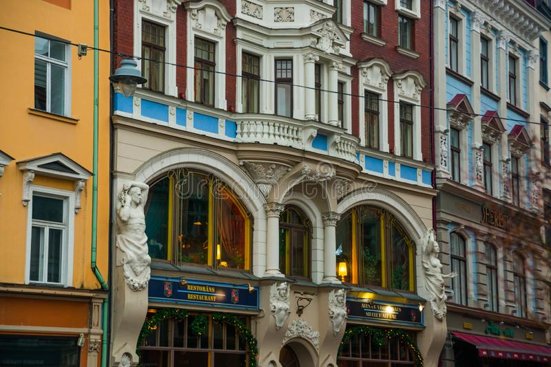 Riga, Latvia: Art Nouveau architecture in Riga. Beautiful facades of houses in the art modern style. Riga city historical centre is a UNESCO World Heritage stock images