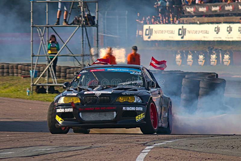 Riga, Latvia - August 02, 2019 - Daniel Branciner Latvian driver drifting royalty free stock photo