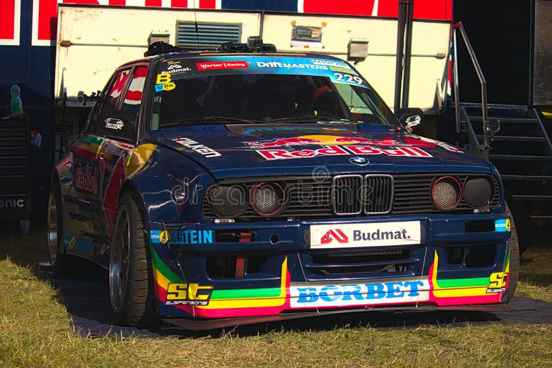 Riga, Latvia - August 02, 2019 - Drift BMW at PIT area royalty free stock photography