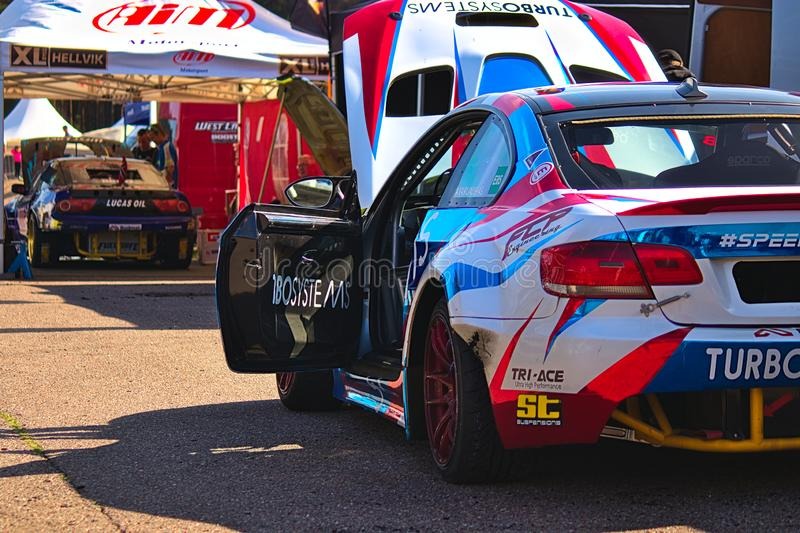 Riga, Latvia - August 02, 2019 - Drift cars at the repair pit area royalty free stock photography