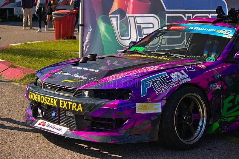 Riga, Latvia - August 02, 2019 - Colorful violet Nissan at PIT area stock images