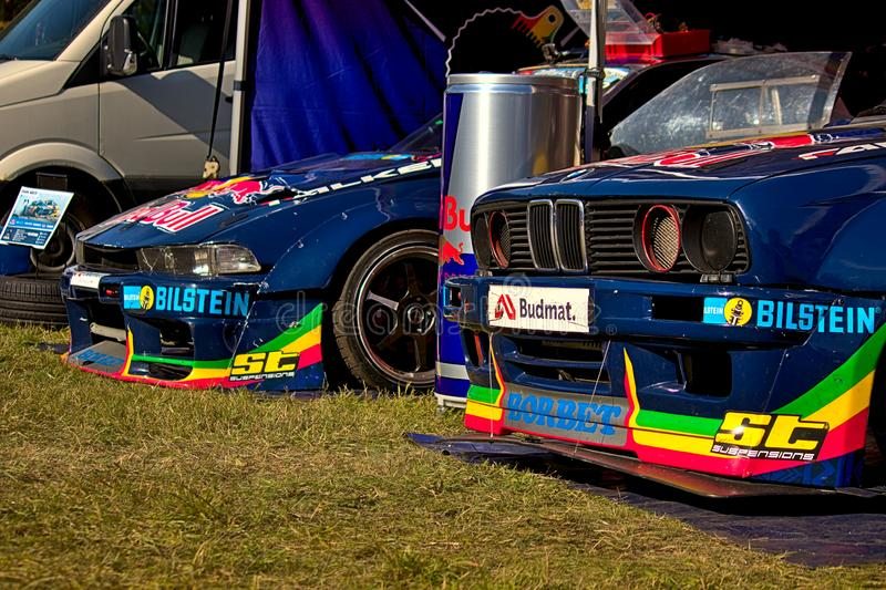 Riga, Latvia - August 02, 2019 - Red Bull team cars at PIT area stock photo