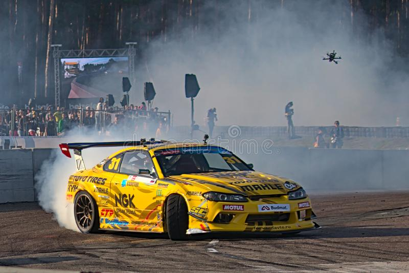 Riga, Latvia - August 02, 2019 - Georgy Chivchyan drifting in the last corner stock photography