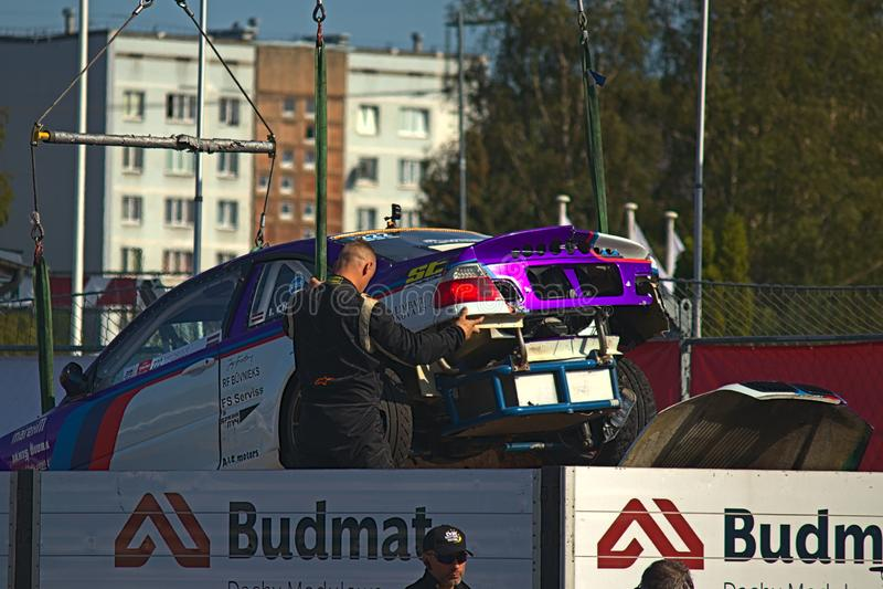 Riga, Latvia - August 02, 2019 - Ivo Cirulis car being evacuated after crash stock photos