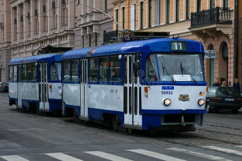 Old tram on Riga street stock photos