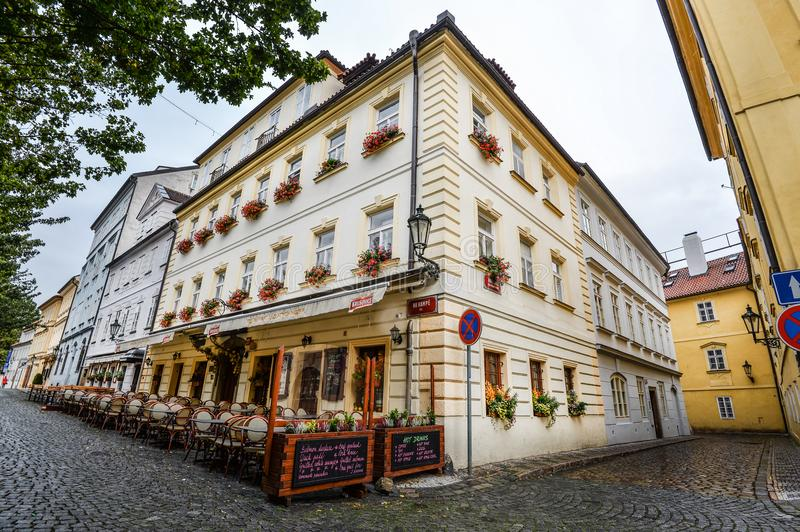 Riga, Latvia - August 23, 2017 : Riga architecture. Beautiful view on old colorful buildings and street cafes of Riga, Latvia. Sum stock images