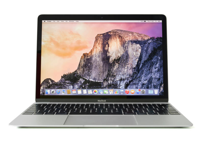 RIGA, LATVIA - December 29, 2016: 12-inch Macbook laptop computer isolated on white. royalty free stock images