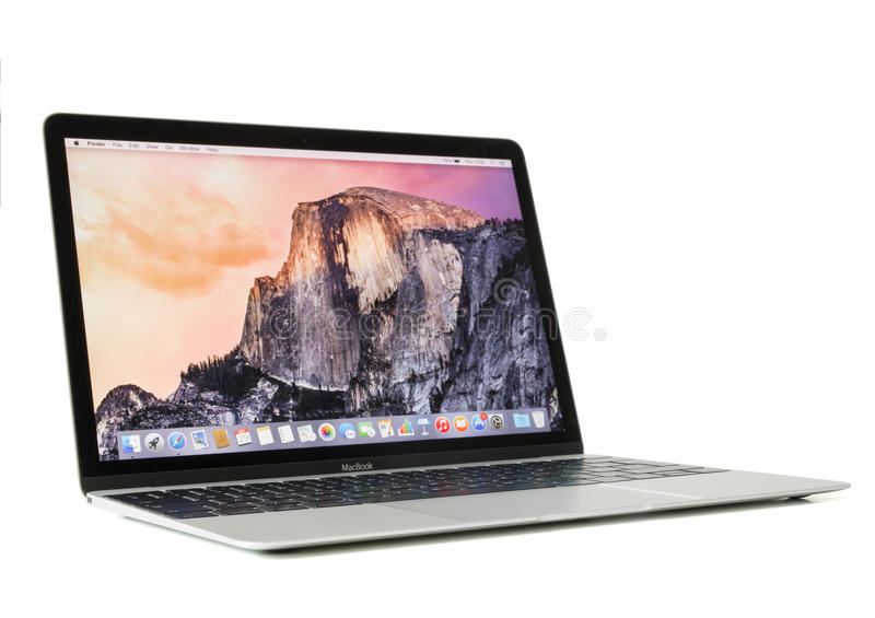 RIGA, LATVIA - December 29, 2016: 12-inch Macbook laptop computer with retina display. RIGA, LATVIA - December 29, 2016: 12-inch Macbook laptop computer with royalty free stock photography