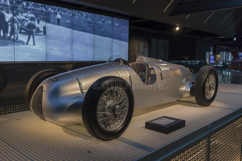 RIGA, LATVIA-February 18, 2019: 1936 Auto Union V16 in the Riga Motor Museum. RIGA, LATVIA-February 18, 2019: 1936 Auto Union V16 typ C D in the Riga Motor stock photos