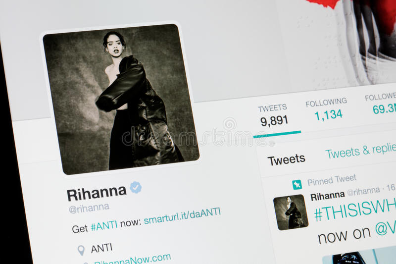 RIGA, LATVIA - February 02, 2017: Billaboard artist and singer Rihanna`s Twitter profile. stock images